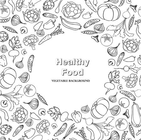 food ingredient: Vegetable pattern. Healthy food frame decor. Food ingredient doodle line pattern.