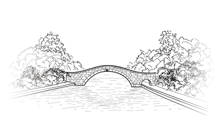 Bridge in park view. city garden lanscape.  Engraving retro nature skyline. Doodle line art illustration. Stock Vector - 76520362