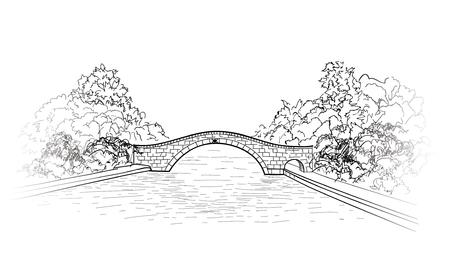 Bridge in park view. city garden lanscape.  Engraving retro nature skyline. Doodle line art illustration. Illustration