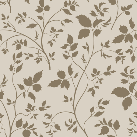 vintage floral pattern: Floral seamless pattern. Branch with leaves ornamental background. Flourish nature garden texture