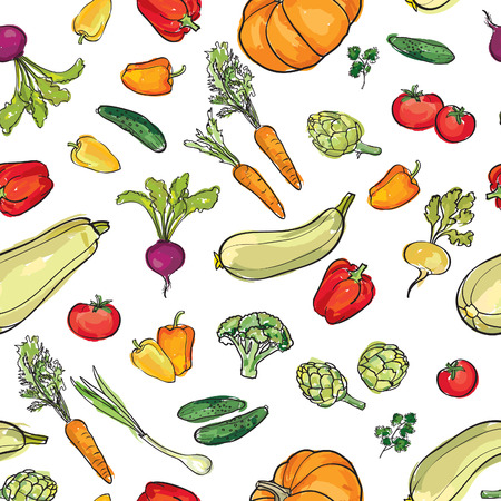 fresh vegetable: Food ingredient seamless watercolor pattern. Vegetable background. Farm fresh food ornamental decor