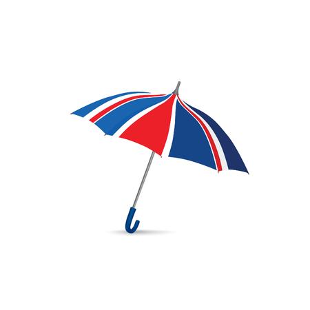 British flag colored umbrella. Season english fashion accessory. Travel Great Britain sign