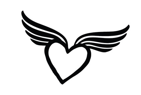 Love heart with wings. Valentine day icon. Lost love sign. Good for tattoo Illustration