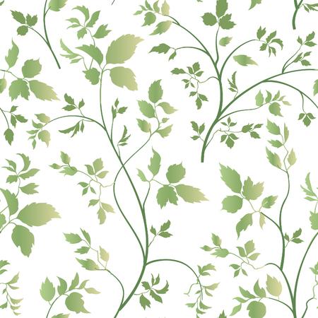 blossom background: Floral leaves seamless pattern. Garden blossom background. Spring  leaf vegetation nature decor Illustration