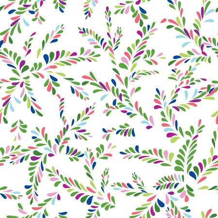 summer nature: Abstract spot floral seamless pattern. Branch with leaves ornamental background. Summer nature decor