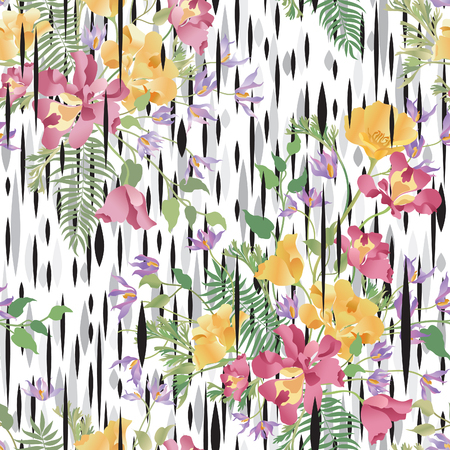 Floral ornamental seamless pattern. Abstract flower bouquet background. Spring garden flourish decor