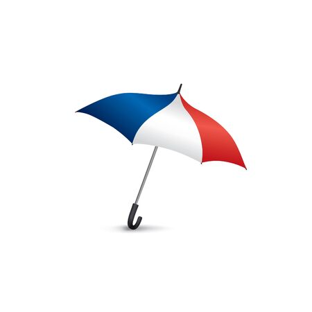 French flag colored umbrella. Travel France sign. French fashion accessory isolated