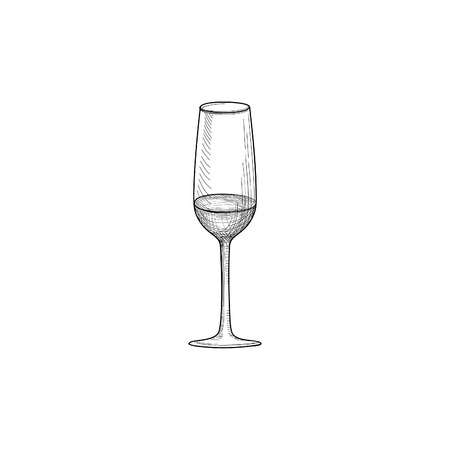 Half full wine glass. Engraving illustration of wineglass. Glassware sign