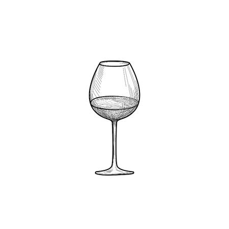 Wine glass. Engraving illustration of wineglass. Utensils sketch. Glassware sign