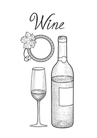 half price: Wine set. Wine glass, bottle, grape branch, handwritten lettering. Vineyard sketch style collection Illustration