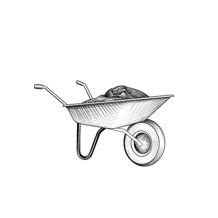 Garden cart with humus isolated rettro etching. Wheelbarrow engraving. Gardening sign