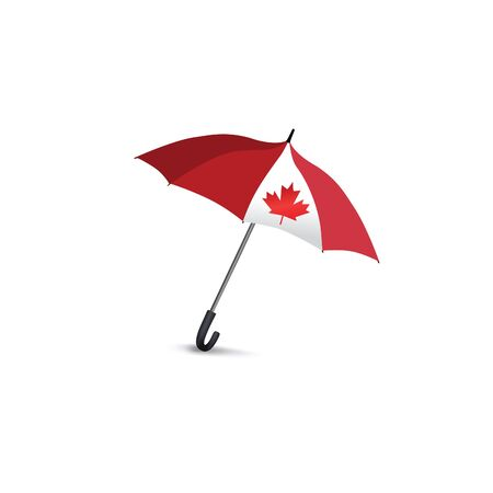 fall fashion: Canada flag colored umbrella. Travel Canada sign Fashion accessory isolated