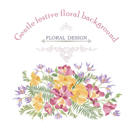 bush mesh: Floral background. Flower bouquet cover. Flourish pattern for greeting card design Illustration