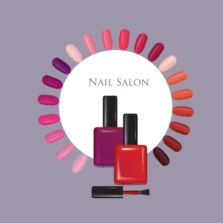 Nail beauty salon background. Manicure nails polished sign.