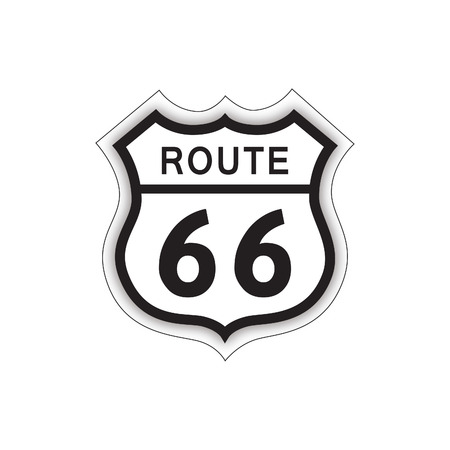 Travel USA sign. Route 66 label. American road icon