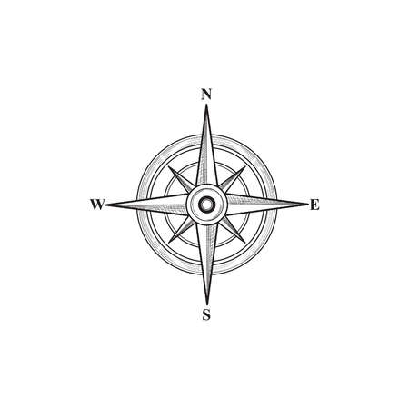 latitude: Compass sign. Compass wind rose hand drawn design element. Black wind rose sketch sign isolated. Navigation icon