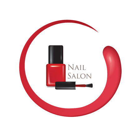 Nail beauty salon background. Manicure nail polish bottle sign.