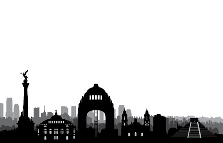 Mexico city skyline. Cityscape silhouette with landmarks. Travel Mexico background