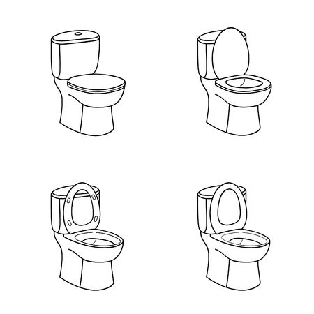 Toilet Sketch Sign. Toilet bowl with Seat. Doolde Line Icon Set.