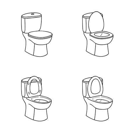 WC schets bord. Toiletpot met zitje. Doolde lijn Icon Set.