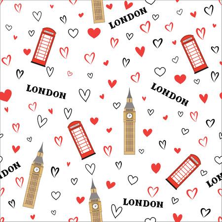 Travel GB seamless pattern. London vacation wallpaper. Travel Europe background. English Landmark tiled grunge pattern.