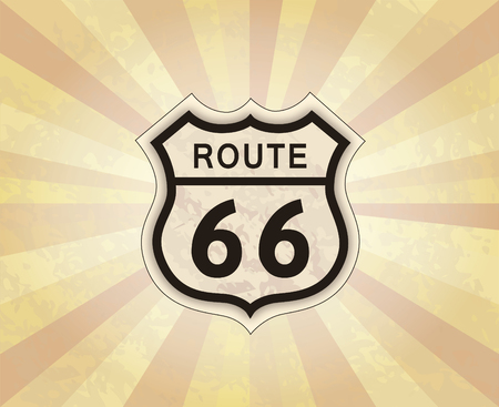 Route 66 sign. American road icon. Travel USA retro background.