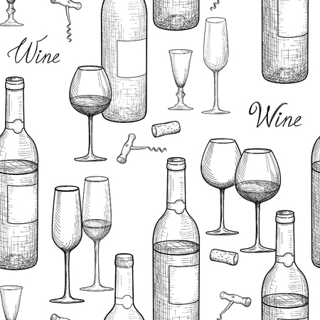 Drink wijn naadloos patroon graveren. Wijnglas en flessenachtergrond