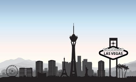 Horizonte de Las Vegas. Fondo americano de la señal de la ciudad del recorrido. Urbano paisaje urbano. EE.UU. paisaje