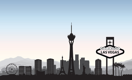 Las Vegas skyline. Travel american city landmark background. Urban cityscape. USA landscape 版權商用圖片 - 82926194