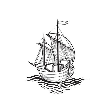 ship anchor: Sailing ship retro illustration. Ship transport cartoon. Marine travel sign