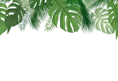 Floral seamless pattern. Tropical leaves background. Palm tree leaf nature border 版權商用圖片 - 82925973