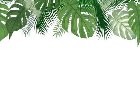 Naadloze bloemmotief. Tropische bladeren achtergrond. Palm natuurrand van de palm