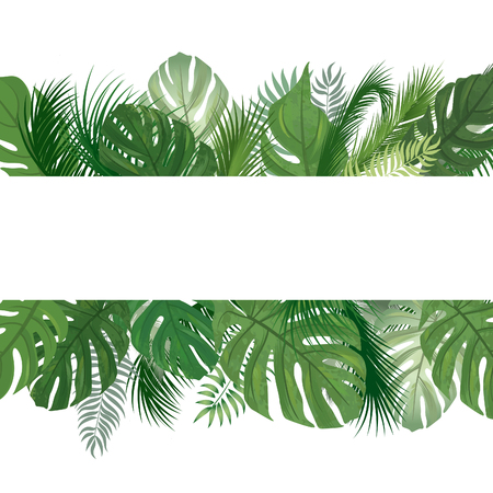 Floral seamless pattern. Tropical leaves background. Palm tree leaf nature border