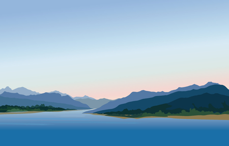 Mountain and hills landscape. Rural skyline. Lake view. Lagoon resort in the evening