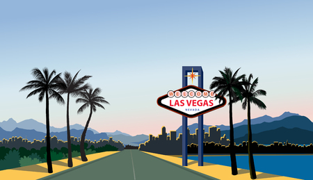 Las Vegas city skyline. Travel USA background. Landscape with Las-Vegas sign