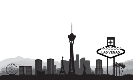 Las Vegas skyline. Travel american city landmark background. Urban cityscape. USA landscape