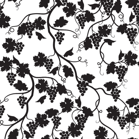 Floral tiled pattern with grape branch silhouette. Wineyard wallpaper. Garden background