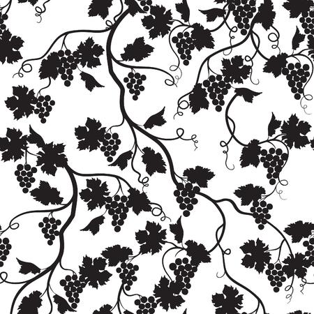 포도 분기 실루엣 꽃 바둑판 식 배열 패턴입니다. Wineyard 벽지입니다. 정원 배경 일러스트