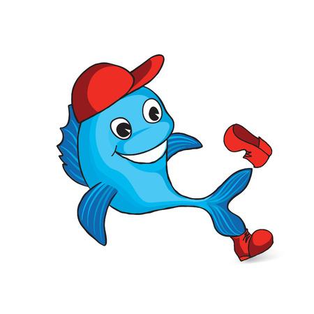 Grappige dolfijn cartoon. Visteken. Seafood logo Stock Illustratie