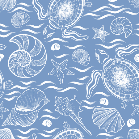 Marine lie seamless pattern. Seashell, turtle, mollusk, ocean waves background