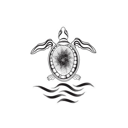 Turtle. Marine reptile isolated. Animal icon Illustration