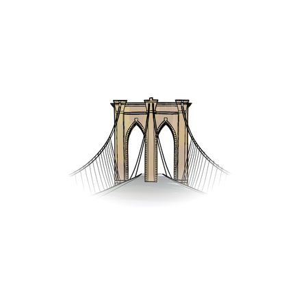 New-York city sign. Travel NYC icon. American landmark Brooklyn bridge view Illustration