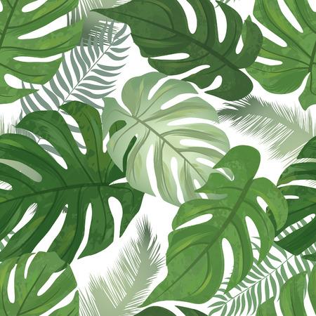 플로랄 원활한 패턴입니다. 열 대 잎 배경입니다. 야자 나무 잎 자연 질감