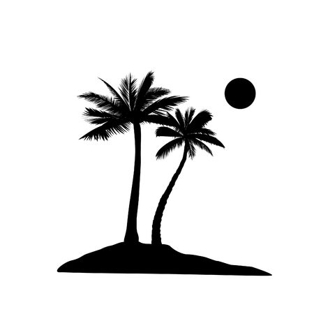 Palm tree silhouette. Summer holiday nature background. Beach resort skyline view.