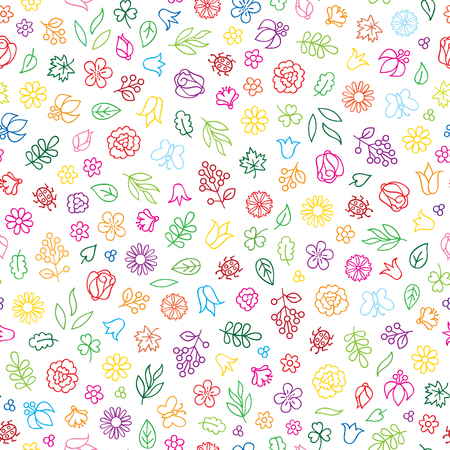 Floral icon seamless pattern.  Flowers and leaves summer background Illustration