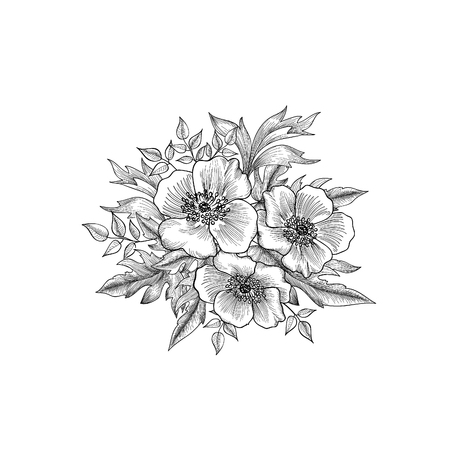 Flowers bouquet isolated. Floral greeting card background. Flowers and leaves retro engraving.