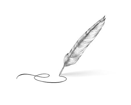 poet: Feather pen writing calligraphy. Literature retro sign. Illustration