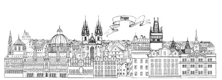 City view. Prague old town landmarks skyline. Travel background Illustration
