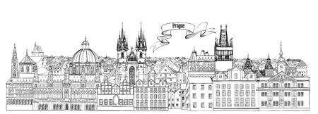 Uitzicht op de stad. De oriëntatiepuntenhorizon van Praag oude stad. Reis achtergrond