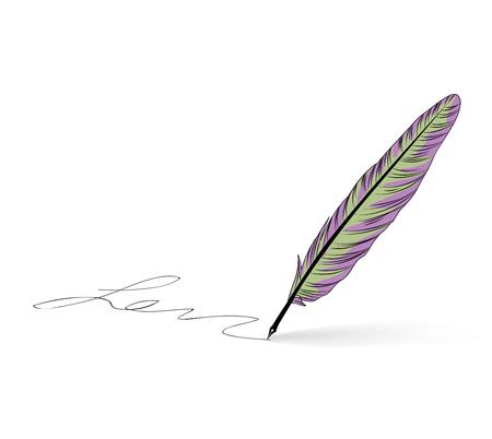 Feather pen writing calligraphy. Literature retro sign. Illustration